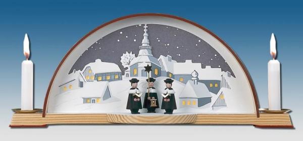 Schwibbogen mit Kurrende und elektrischer Hintergrundbeleuchtung, 33 x 14 cm, Manufaktur Klaus Kolbe Seiffen/ Erzgebirge