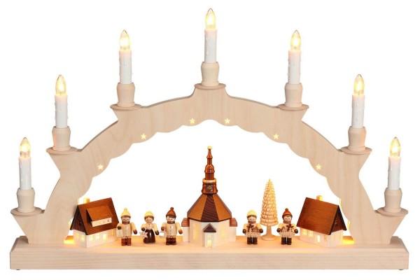 Schwibbogen Seiffener Dorf mit Kinder, komplett elektrisch beleuchtet und indirekte Beleuchtung im Innenbogen, 50 x 32 cm, Nestler-Seiffen.com OHG Seiffen/ …