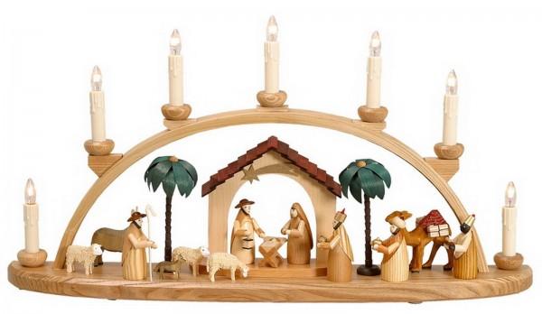Schwibbogen mit Krippenhaus auf dem Schwibbogen befinden sich eine Heilige Familie, die Heiligen 3 Königen, ein Hirte mit Schafen, Esel und Kamel und 2 …