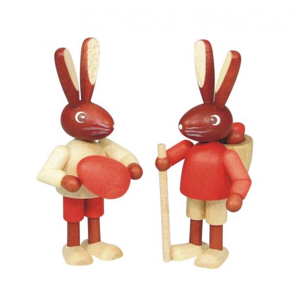 Osterhasenpaar Kinder, natur, 6 cm, Stephan Kaden holz.kunst Seiffen/Erzgebirge