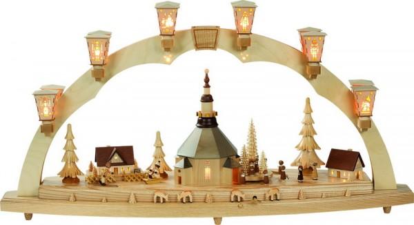 Schwibbogen Seiffener Kirche mit Kurrende und Spielwerk, komplett elektrisch beleuchtet, 41 x 80 cm,Richard Glässer GmbH Seiffen/ Erzgebirge