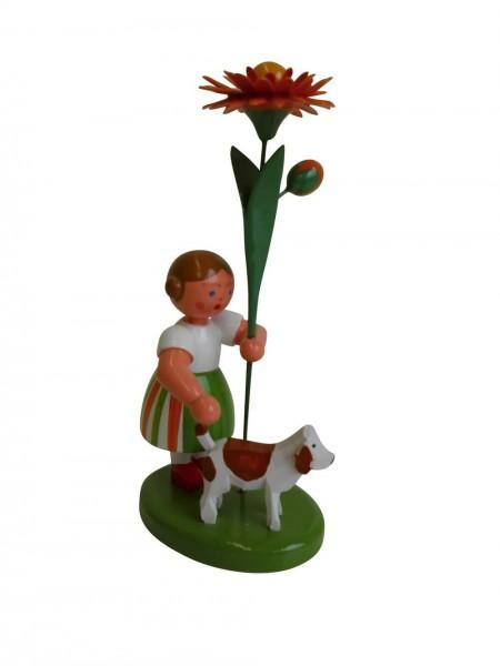 Blumenkinder - Blumenkind Mädchen mit Reifentier (Hund) und Ringelblume, 10 cm von WEHA-Kunst Dippoldiswalde/ Erzgebirge