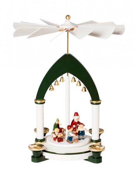 KWO Weihnachtspyramide mit Weihnachtsmann und Kindern Motiv Weihnachtsfest aus dem Erzgebirge
