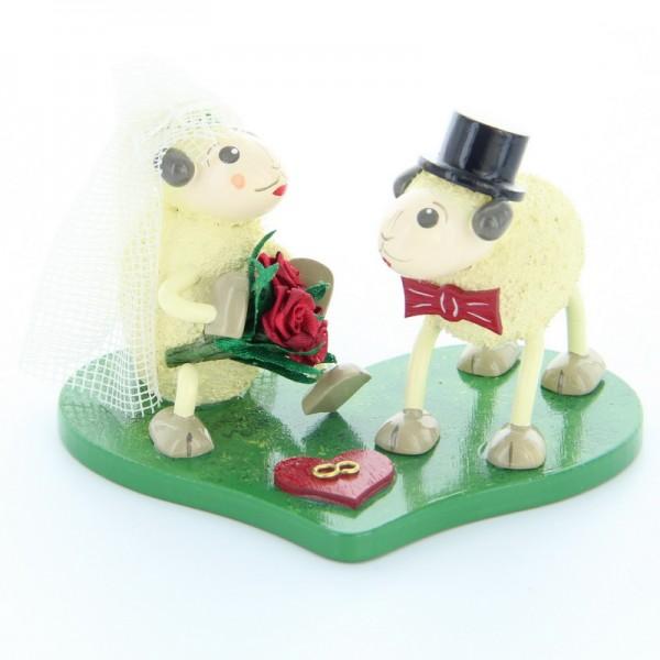 Schaf Brautpaar Justy und Mary, 5,5 cm, Frieder & André Uhlig Seiffen/ Erzgebirge