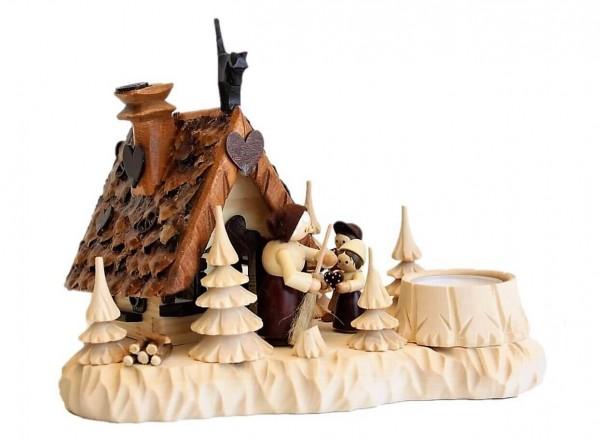 """Das Räucherhaus """"Hänsel und Gretel"""" mit Teelicht und Romy Thiel Figuren von Holzdrechslerei A. Lahl Deutschneudorf/ Erzgebirge, ist ein …"""