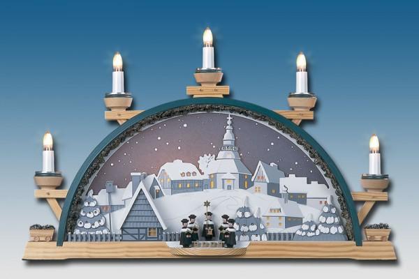 Schwibbogen Sternenhimmel über Seiffen, elektrisch beleuchtet, 53 x 34 cm, Manufaktur Klaus Kolbe Seiffen/ Erzgebirge