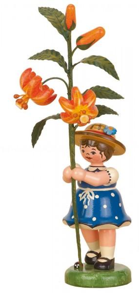 Mädchen mit Lilie aus Holz aus der Serie Hubrig Blumenkinder