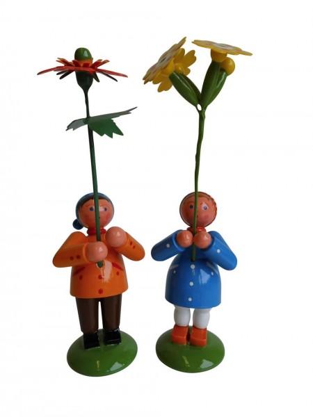 Blumenkinder - Frühlingspärchen, handbemalt,12 cm von WEHA-Kunst Dippoldiswalde/ Erzgebirge
