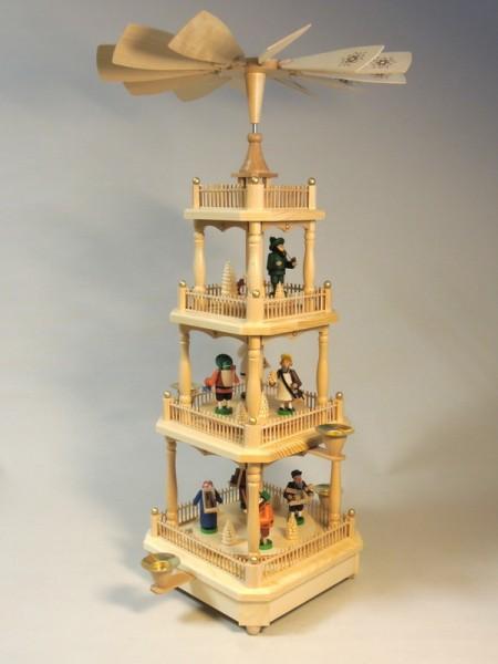 Weihnachtspyramide, 3 - stöckig mit Erzgebirgsmotiven, bunt, 59 cm von Richard Glässer Seiffen/ Erzgebirge Die Pyramide mit Erzgebirsmotiven ist eine der …