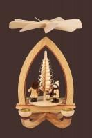 Vorschau: Weihnachtspyramide mit Lampionkinder, natur, 28 cm hergestellt von Heinz Lorenz Olbernhau/ Erzgebirge_Bild2