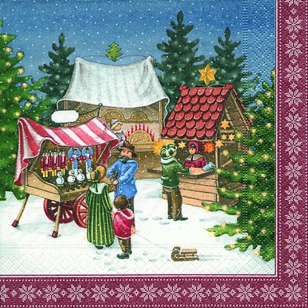 Weihnachtsservietten mit Weihnachtsmarktmotiv, 20 Stück, 3 - lagig, 33 x 33 cm