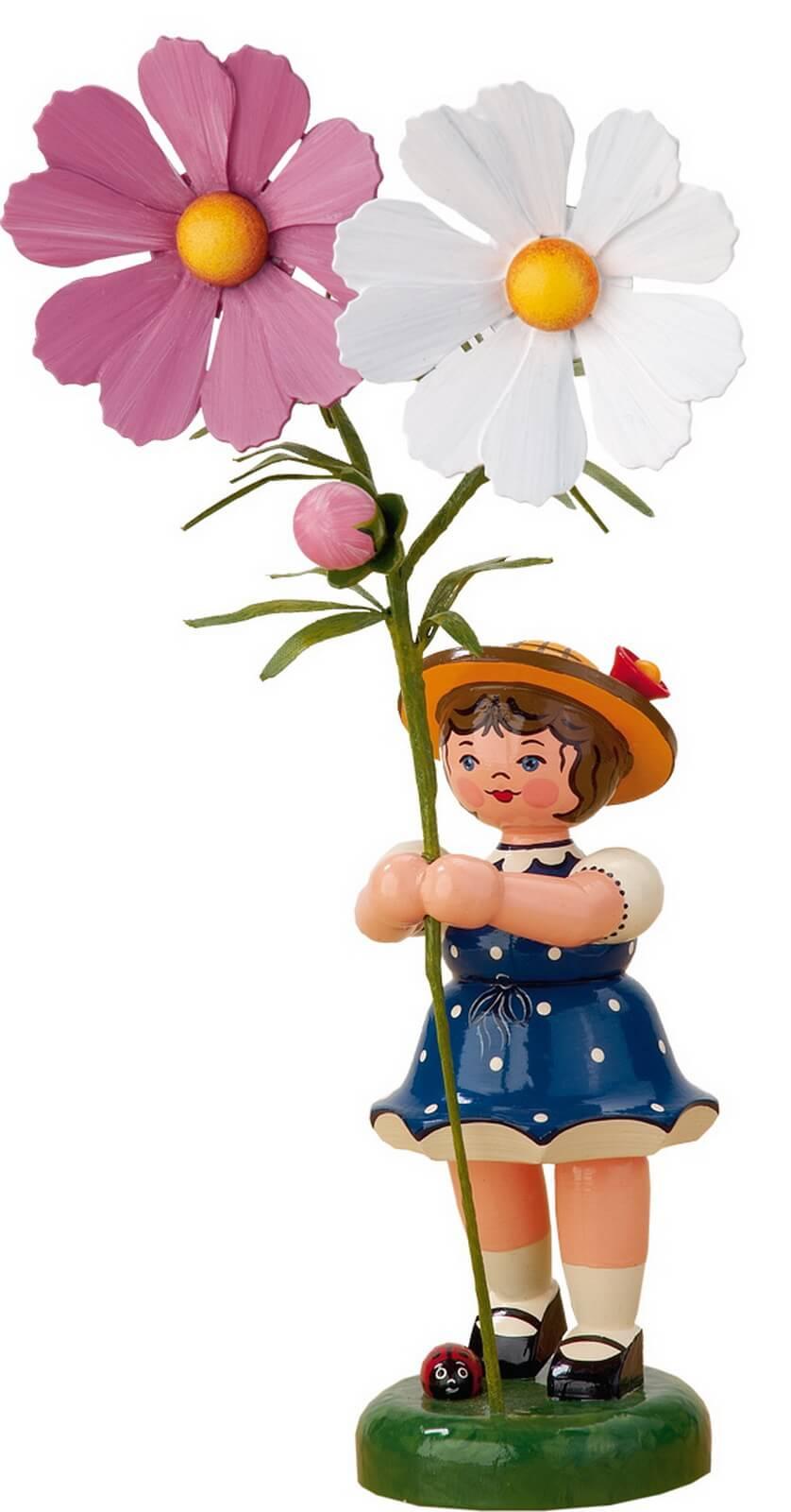 Mädchen mit Cosmea aus Holz aus der Serie Hubrig Blumenkinder