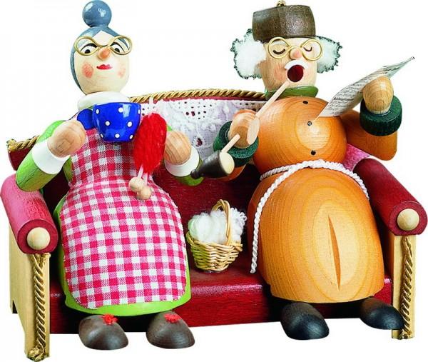 Richard Glässer Räuchermännchen Oma und Opa auf dem Sofa
