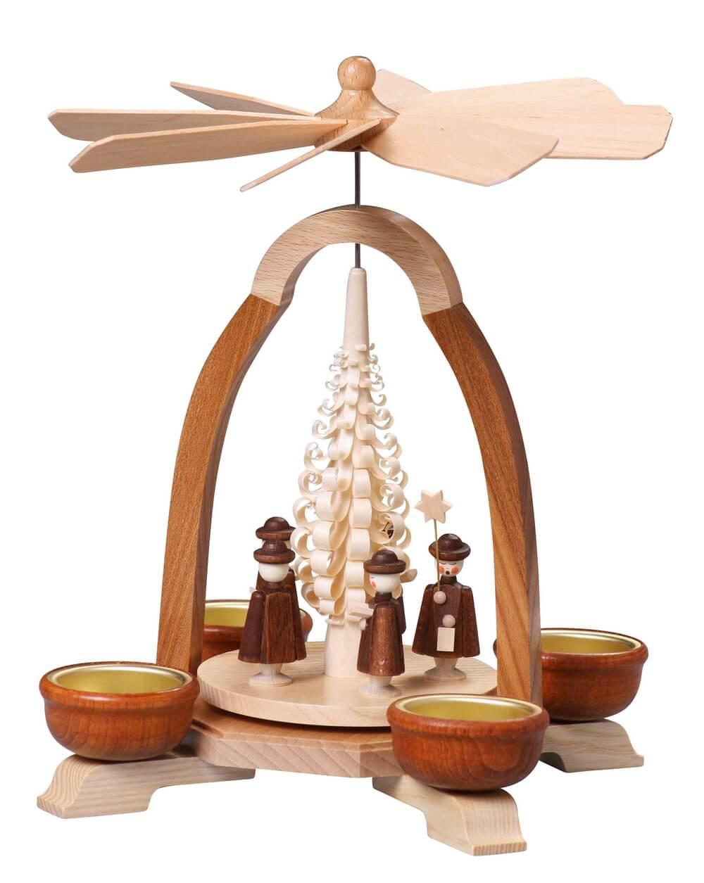 Teelicht-Pyramide mit Kurrende, 24 cm von Thomas Preißler