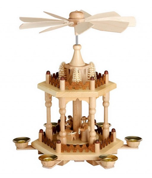 Weihnachtspyramide, 2 - stöckig mit Heiliger Familie, 29 cm hergestellt von Theo Lorenz