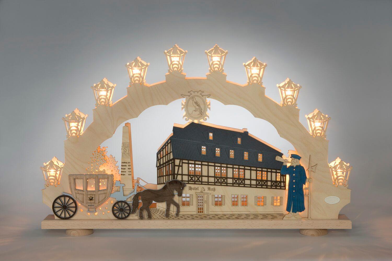 Schwibbogen Zwönitz, Bergstadt Zwönitz im Erzgebirge, elektrisch beleuchtet, 66 x 41 x 6 cm von Weigla - Günter Gläser Deutschneudorf/ Erzgebirge Der …
