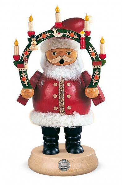 Räuchermann Weihnachtsmann mit Kerzenbogen aus Holz von Müller Kleinkunst aus Seiffen