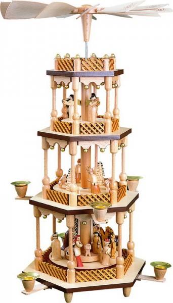 Weihnachtspyramide Christi Geburt, 3 - stöckig, 54 cm hoch, Richard Glässer GmbH Seiffen/ Erzgebirge