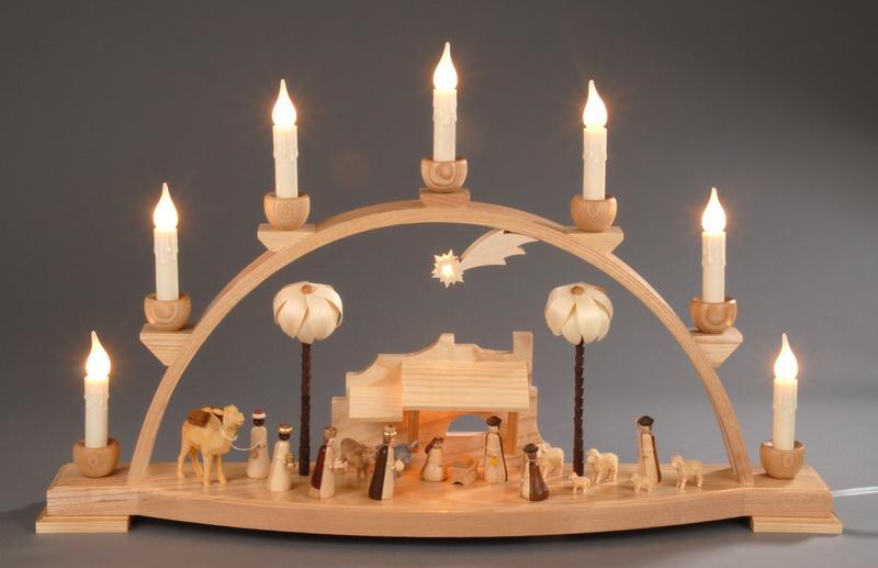 Schwibbogen (natur) Christi Geburt. Dieser komplett elektrisch beleuchtet Schwibbogen mit Innenbeleuchtung wurde aus massivem Eschenholz gefertigt und …