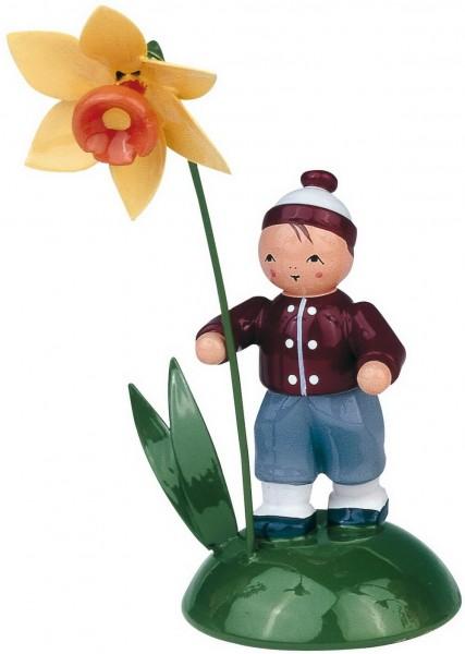 KWO Blumenkind Junge mit Narzisse farbig lackiert