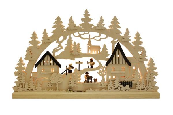 Schwibbogen von Romy Thiel mit einem Dorf - Waldmotiv, 63 cm_Bild1