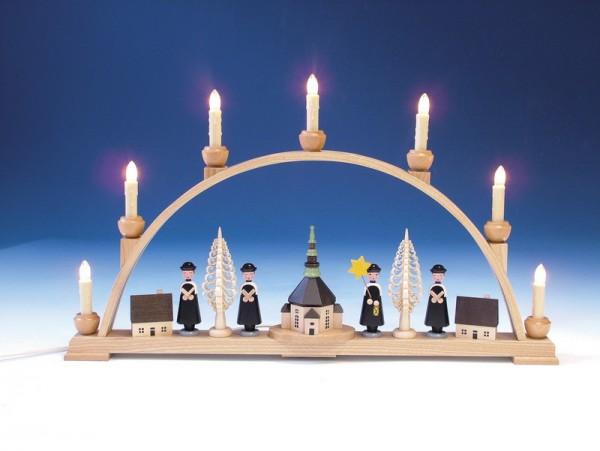 Schwibbogen mit Seiffener Kirche, komplett elektrisch beleuchtet, 63 cm, Knuth Neuber Seiffen/ Erzgebirge