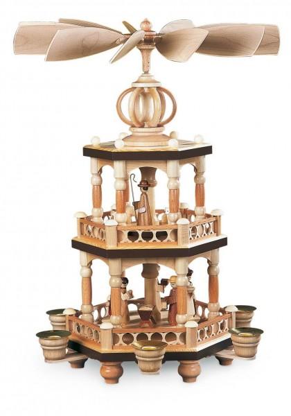 Weihnachtspyramide Heilige Geschichte, 2 - stöckig, 40 cm hergestellt von Müller Kleinkunst aus Seiffen