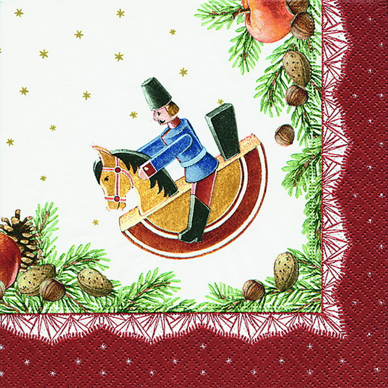 Weihnachtsservietten mit Reiterleinmotiv, 20 Stück, 3 - lagig, 33 x 33 cm