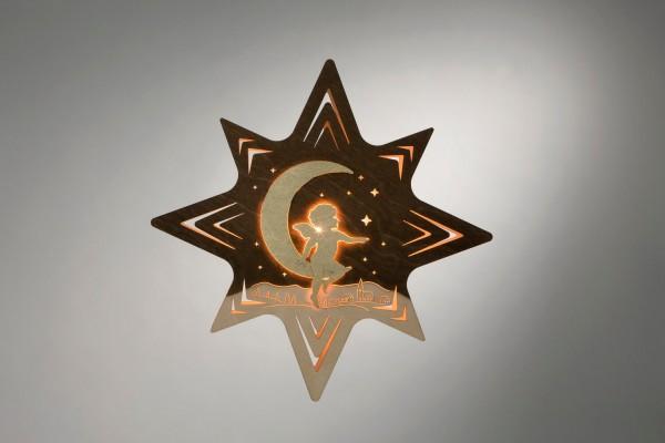 Weihnachtlicher Fensterschmuck & beleuchtetes Fensterbild Engel auf Mond, elektrisch beleuchtet, 30 x 30 x 5 cm von Weigla - Günter Gläser Deutschneudorf/ …