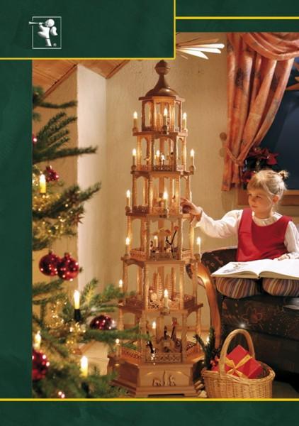 Weihnachtspyramide Christi Geburt, 6 - stöckig, elektrisch angetrieben und beleuchtet, 165 cm, Richard Glässer GmbH Seiffen/ Erzgebirge