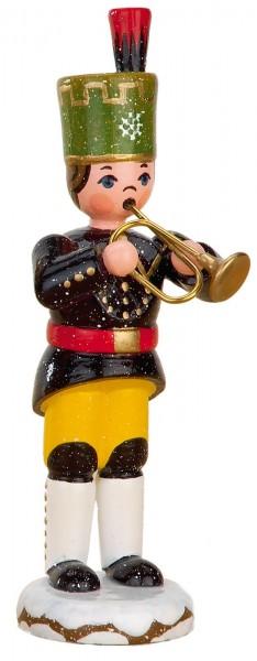 Winterkind Bergmann mit Trompete von Hubrig Volkskunst GmbH Zschorlau/ Erzgebirge ist 9 cm groß.