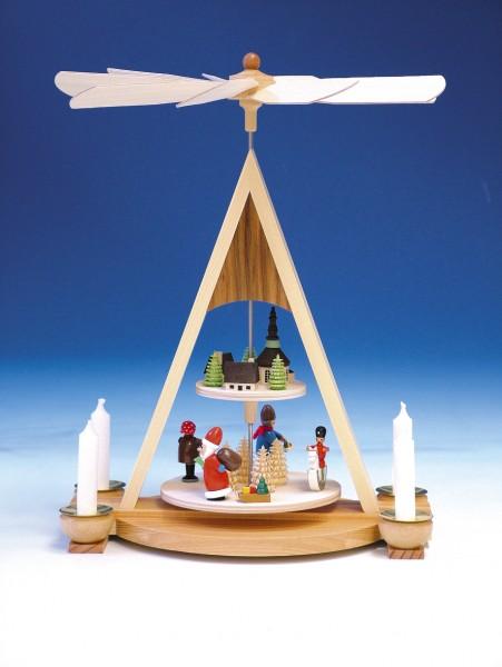 Weihnachtspyramide mit Weihnachtsmann mit Seiffener Dorf, 2 - stöckig, 35 cm, Knuth Neuber Seiffen/ Erzgebirge