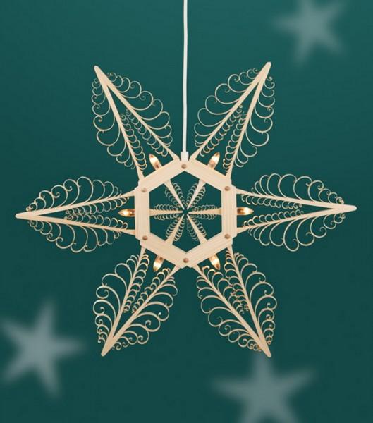 Fensterschmuck Holzstern mit 6 Kerzen, elektrisch beleuchtet, Durchmesser 50 cm, Martina Rudolph Seiffen/ Erzgebirge