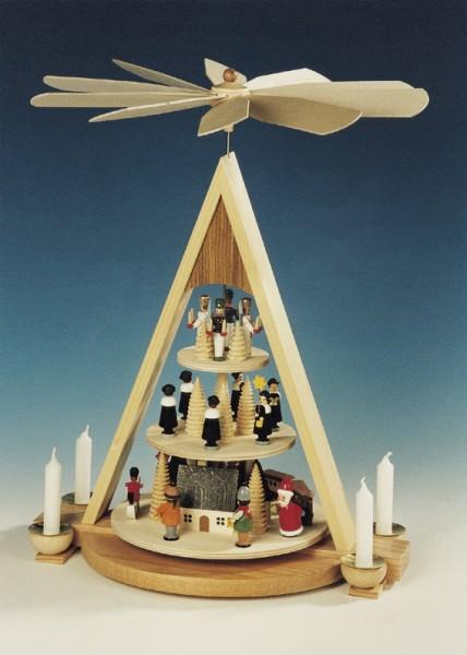 Weihnachtspyramide Erzgebirgsweihnacht, 3 - stöckig, 43 x 30 x 25 cm, Knuth Neuber Seiffen/ Erzgebirge