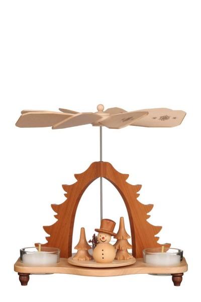 Weihnachtspyramide Schneemann natur, 19 cm von Christian Ulbricht GmbH & Co KG Seiffen/ Erzgebirge