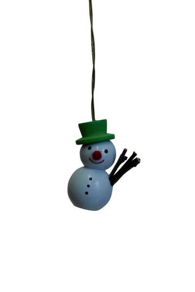 Schneemann mit grünem Hut, 4 cm von Nestler-Seiffen