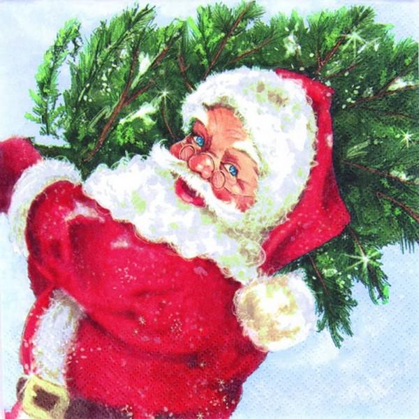 Weihnachtsservietten Santa with his Tree von Home Fashion®