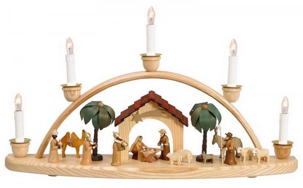 Schwibbogen mit Krippenhaus, natur, elektrisch beleuchtet, 50 cm hergestellt von Theo Lorenz