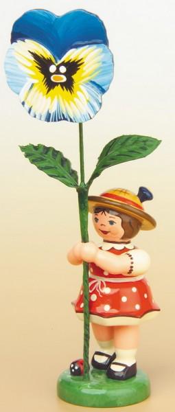 Blumenkind Mädchen mit Stiefmütterchen, 11 cm von Hubrig Volkskunst GmbH Zschorlau/ Erzgebirge