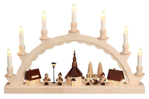 Schwibbogen Seiffener Dorf mit Thiel Kindern und beleuchteter Straßenlaterne und beleuchteter Kirchturmuhr, komplett elektrisch beleuchtet mit langen Kerzen, …