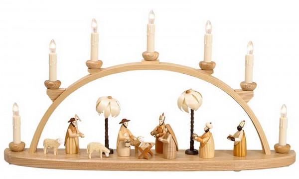 Schwibbogen mit Christi Geburt, natur. Die Bestückung für diesen Schwibbogen besteht aus eine Heilige Familie, den Heiligen 3 Königen, einem Hirten mit …