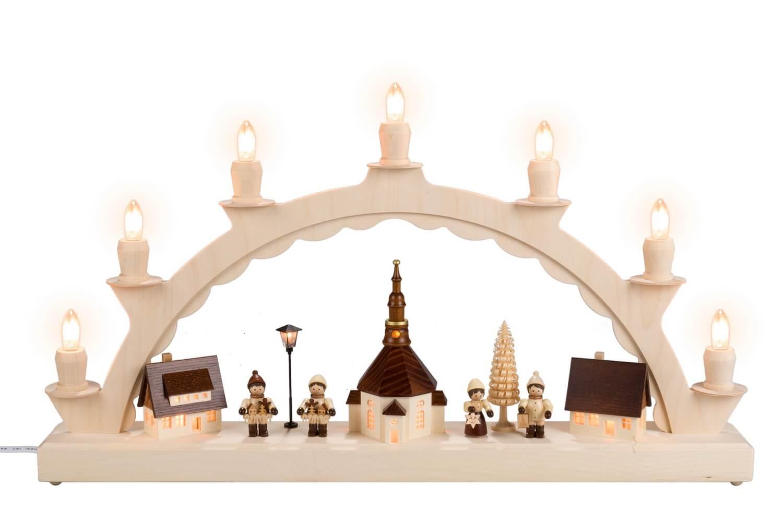 Schwibbogen von Nestler-Seiffen mit Lampionkinder, komplett elektrisch beleuchtet_Bild1