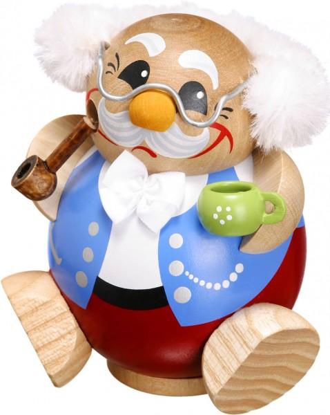 lustige Räucherfigur mit Tasse und Pfeife