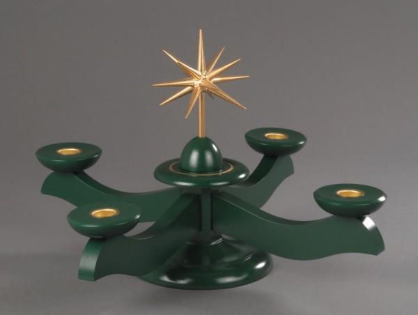 Adventsleuchter, grün - Weihnachtsstern, Adventsleuchter aus massivem Buchenholz, grün lackiert, Stern in Handarbeit gefertigt, bronzefarbig lackiert, …