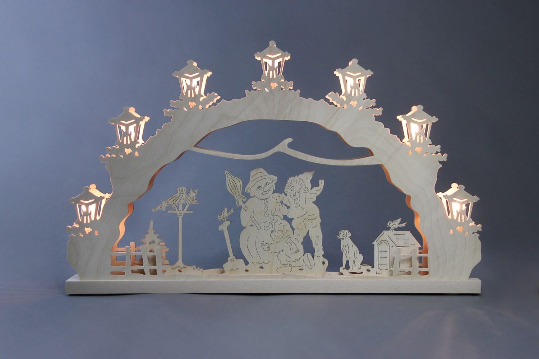 Schwibbogen Schneemann bauen, 7 flammig, elektrisch beleuchtet, 52 x 32 x 4,5 cm von Weigla - Günter Gläser Deutschneudorf/ Erzgebirge Der …