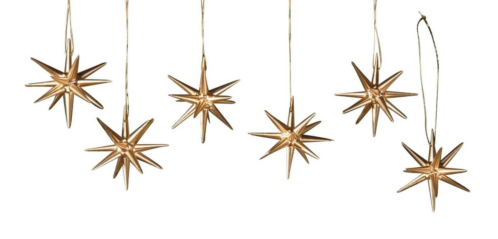 Christbaumschmuck aus Holz, Weihnachtssterne gold, 6-teilig hergestellt von Albin Preißler_Bild1