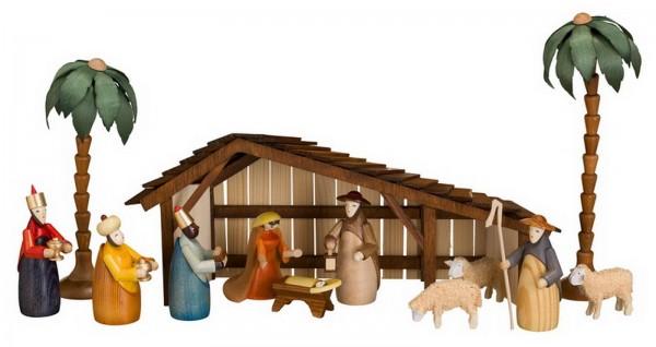 Weihnachtskrippe mit Stall (19 cm) und verschiedenen Figuren (9 cm) aus der heiligen Geschichte. Die Figuren umfassen die Heilige Familie, die 3 Heiligen …