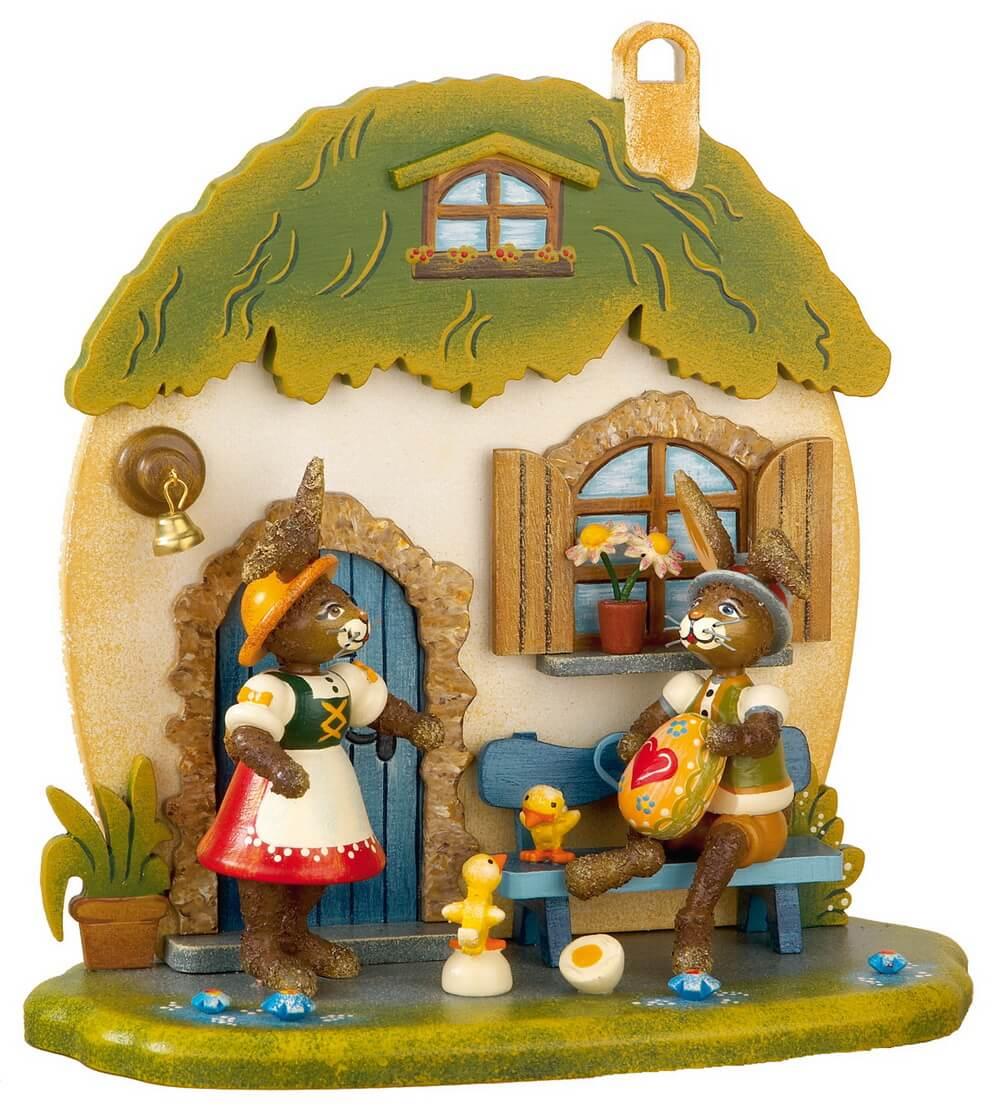 Hubrig Hasenhaus aus Holz mit 2 Osterhasen