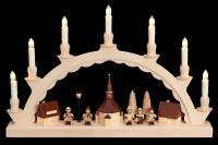 Vorschau: Schwibbogen mit dem Motiv Seiffener Dorf und mit Romy Thiel Kindern, elektrisch beleuchtet von Nestler-Seiffen_Bild2