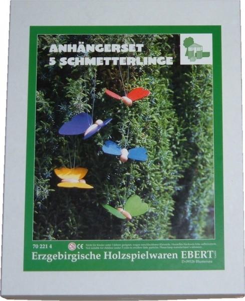 Schmetterlinge 5er Set zum Aufhängen, 9 x 7 cm von Erzgebirgische Holzspielwaren Ebert GmbH Olbernhau/ Erzgebirge